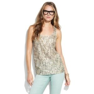 Madewell Broadway & Broome Metallic Gold Silk Tank